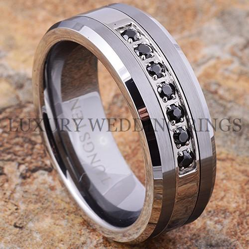 Tungsten Ring Black Diamonds Mens Wedding Band Brushed Titanium Color Size 6