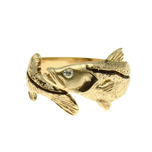 mens snook fish 14k gold diamond wrap ring ebay
