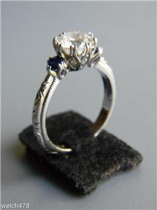 tacori 925 sterling silver synthetic sapphire cz