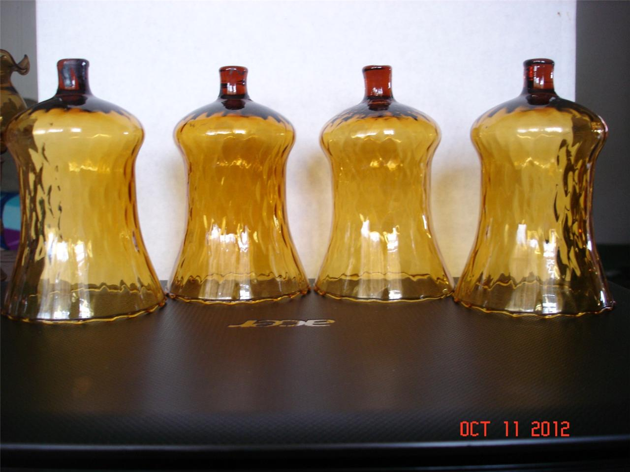 4 Vintage Homco Home Interior Amber Votive Cups Candle