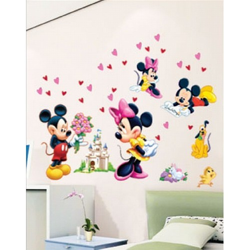 Mickey Mouse Minnie Wall Stickers Pluto Castle Disney Love