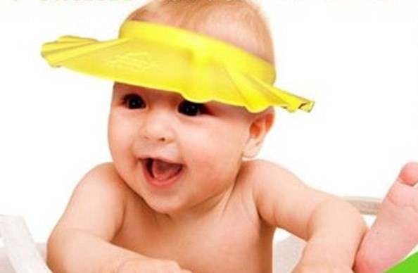 baby kids children shower hat cap washing hair soap pink blue yellow