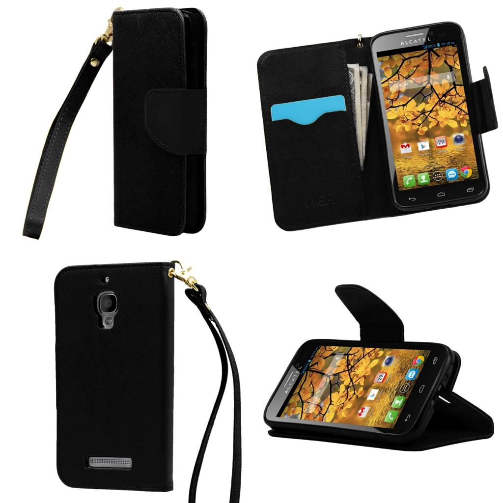 Alcatel One Touch Fierece 7024W Leather Magnetic Wallet Flip Stand Case Cover