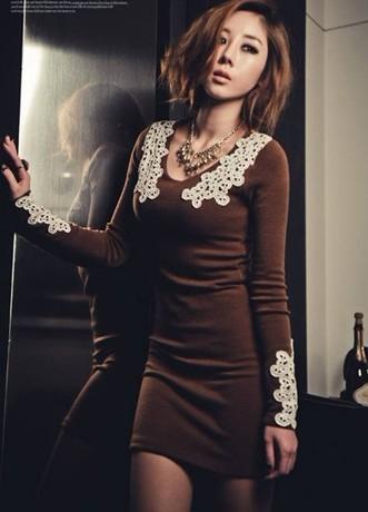 Платье цвет Коричневый - код