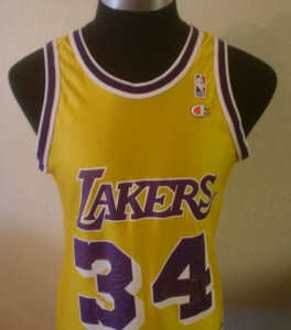 GOLD SHAQ 90S SHAQUILLE ONEAL LOS ANGELES LAKERS JERSEY 40/M