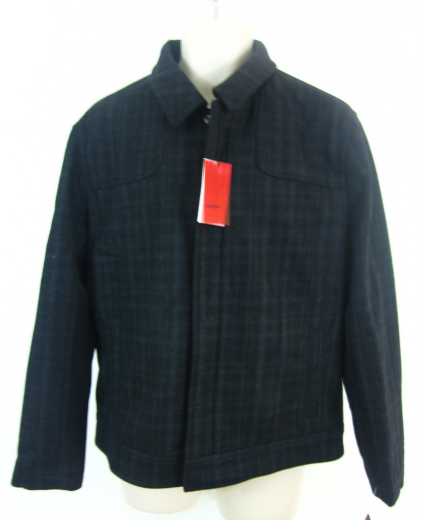 Alfani red fitted men 39 s wool blend plaid zipper coat for Mens red wool shirt