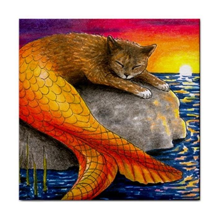 Ceramic Tile Coaster Or Framed Tile Cat Mermaid 30 Ocean Art