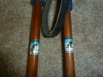 Vintage 190cm Wood Cross Country Skis w/ Bamboo Poles Holmenkollen