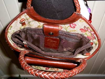 FOSSIL Burgundy Green Beige Tapestry Cognac Brown Braided Leather Tote