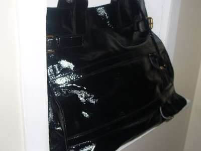 YSL YVES SAINT LAURENT Black Patent Leather Rive Gauche Shopper Tote