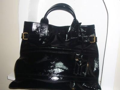 YSL YVES SAINT LAURENT Black Patent Leather Rive Gauche Shopper Tote