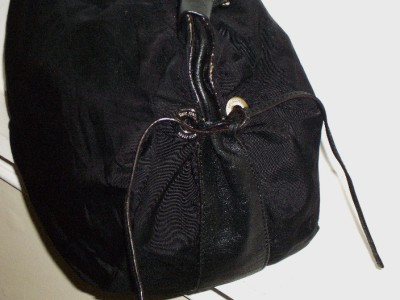 KATE SPADE Black Nylon And Leather Drawstring Slouchy Satchel Handbag