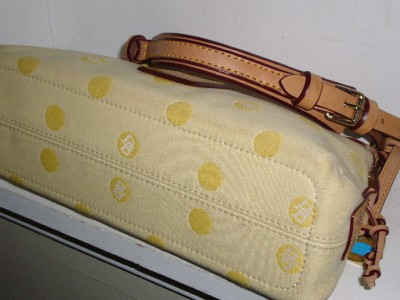 AUTHENTIC LIGHT YELLOW POLKA DOT LOGO CANVAS AND TAN LEATHER HOBO BAG