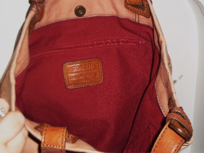 FOSSIL PEACHY PINK CANVAS AND COGNAC BROWN LEATHER WEEKENDER TOTE