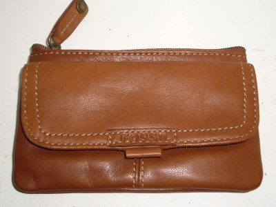 Fossil Buttery Soft Cognac Brown Leather Everyday Wallet Coin Change Purse Key