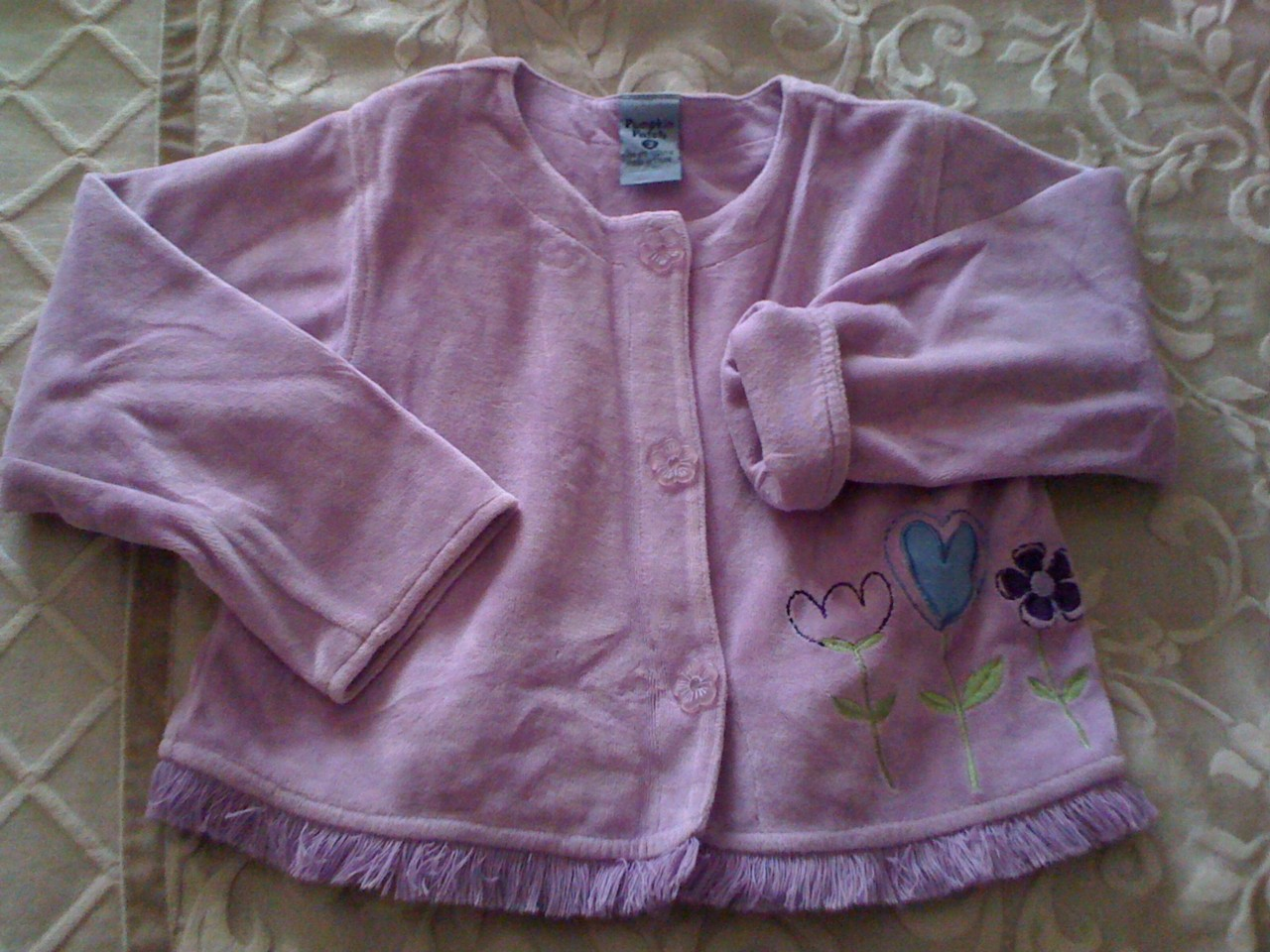 PUMPKIN-PATCH-GIRLS-SIZE-3-MAUVE-VELOUR-JACKET-LINED-EMBROIDERED-DETAIL-C41
