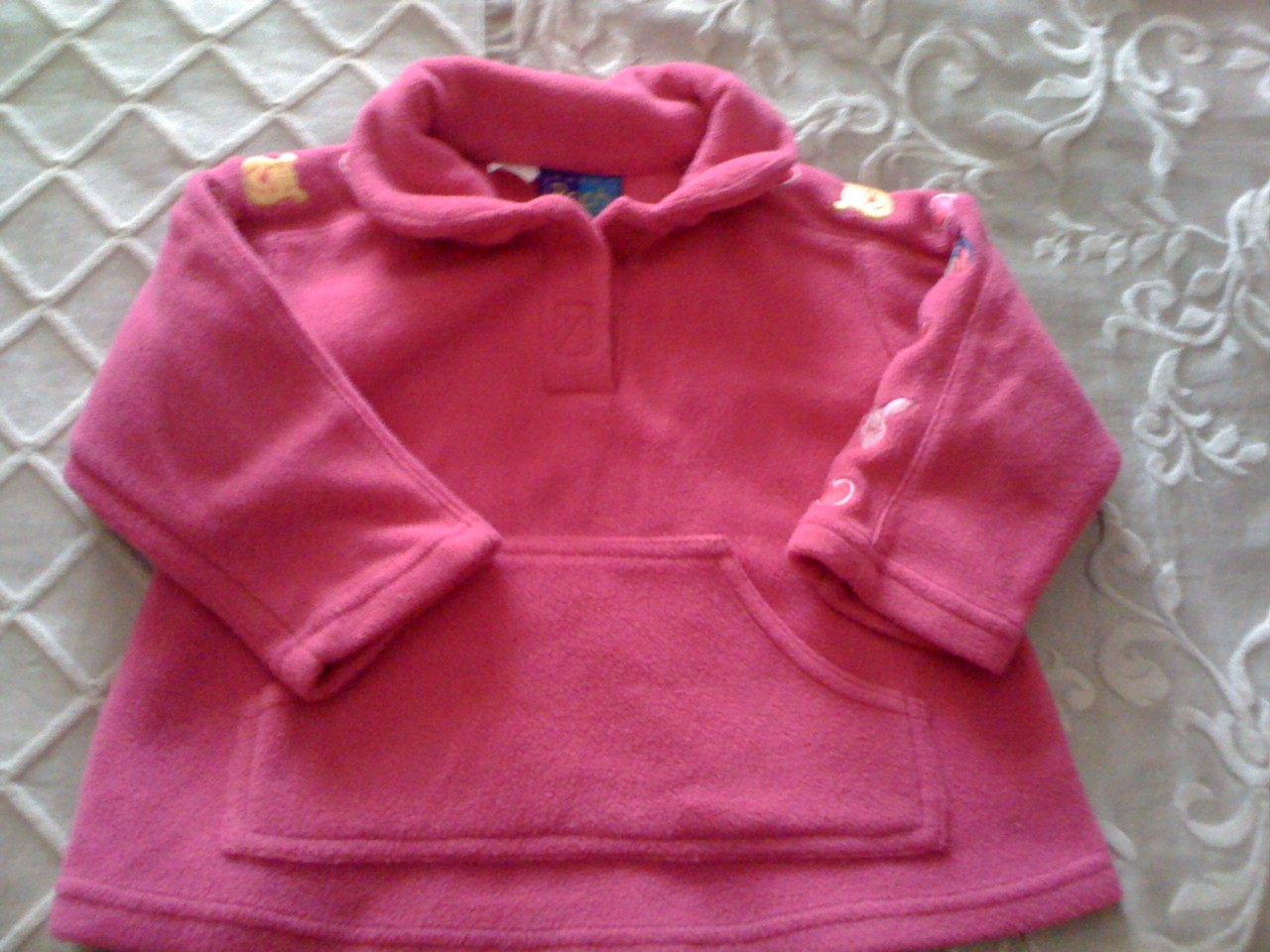 POOH-BEAR-by-Disney-GIRLS-SIZE-1-PINK-POLAR-FLEECE-PULLOVER-JUMPER-C50