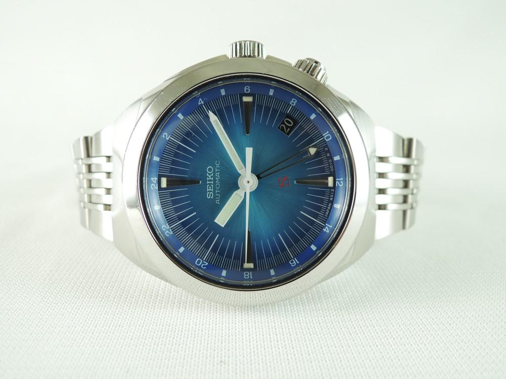 Seiko 4s12 0010 man gmt 24hr date steel gradient blue dial automatic vintage bid ebay for Gradient dial watch