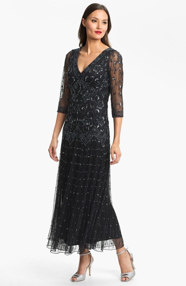pisarro nights beaded mesh dress regular petite