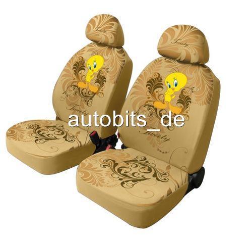 universal sitztbez ge schonbez ge tweety beige f r auto van neu ebay. Black Bedroom Furniture Sets. Home Design Ideas