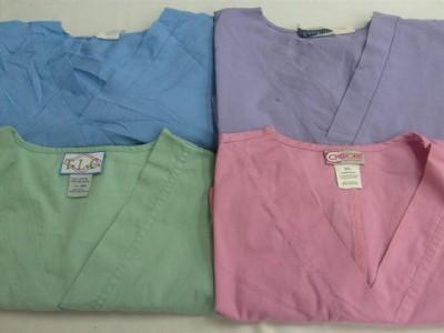 Medical Dental Vet Scrubs Lot Solid Color Shirts Tops 2XL XXL 2X HEIGL