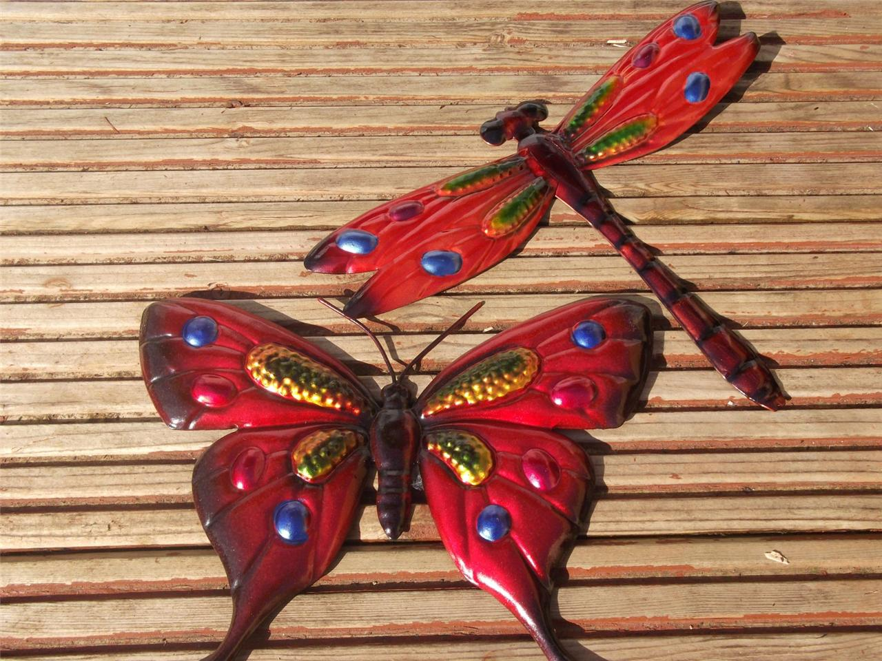 Butterfly dragonfly garden ornaments butterfly wall art for Outdoor butterfly ornaments