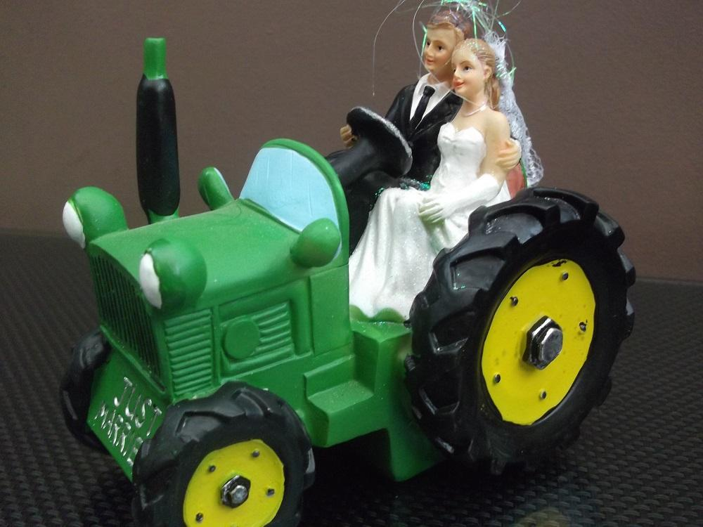 Wedding Cake Topper Bride And Groom On A Tractor Wedding Cake Topper