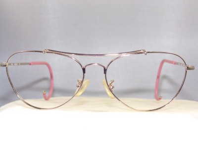 Eyeglass Frame Temple : NEW SMALL GOLD AVIATOR EYEGLASS FRAME WITH CABLE TEMPLES ...