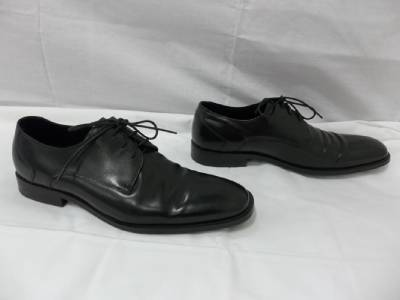 Mens ASTON GREY Mens Black Leather Lace Up Oxford Dress Shoes Size 9.5