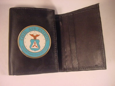 CAP CIVIL AIR PATROL LOGO BLACK LEATHER TRIFOLD WALLET NEW