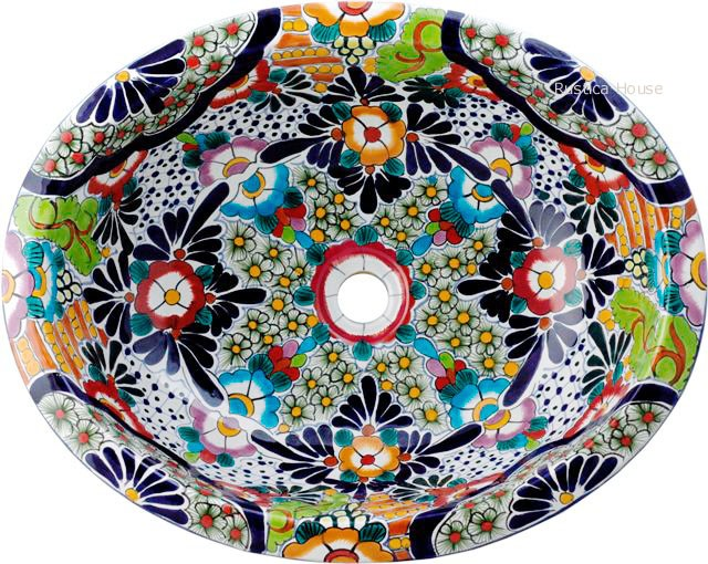 Mexican Hand Painted Talavera Oval Bathroom Sink