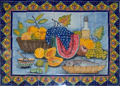 Mexican Kitchen Tiles on Mexican Tile Mural  Hand Painted Kitchen Backsplash Talavera Tiles