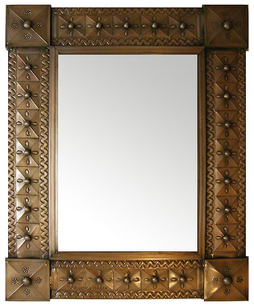 mexican mirrors: 24x20 puched tin colonial mirror