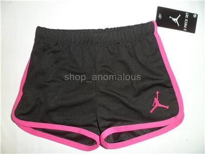Nike Air Jordan Baby Girls Shirt Shorts Outfit Clothes Set Sz 24M 2T Summer