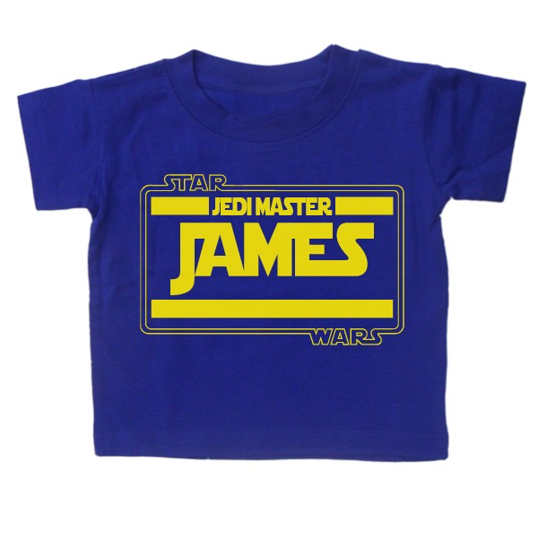 Baby-T-Shirt-BOYS-039-PERSONALISE-WITH-NAME-039-STARWARS-Movie-Tee-Slogan-Custom-Gift