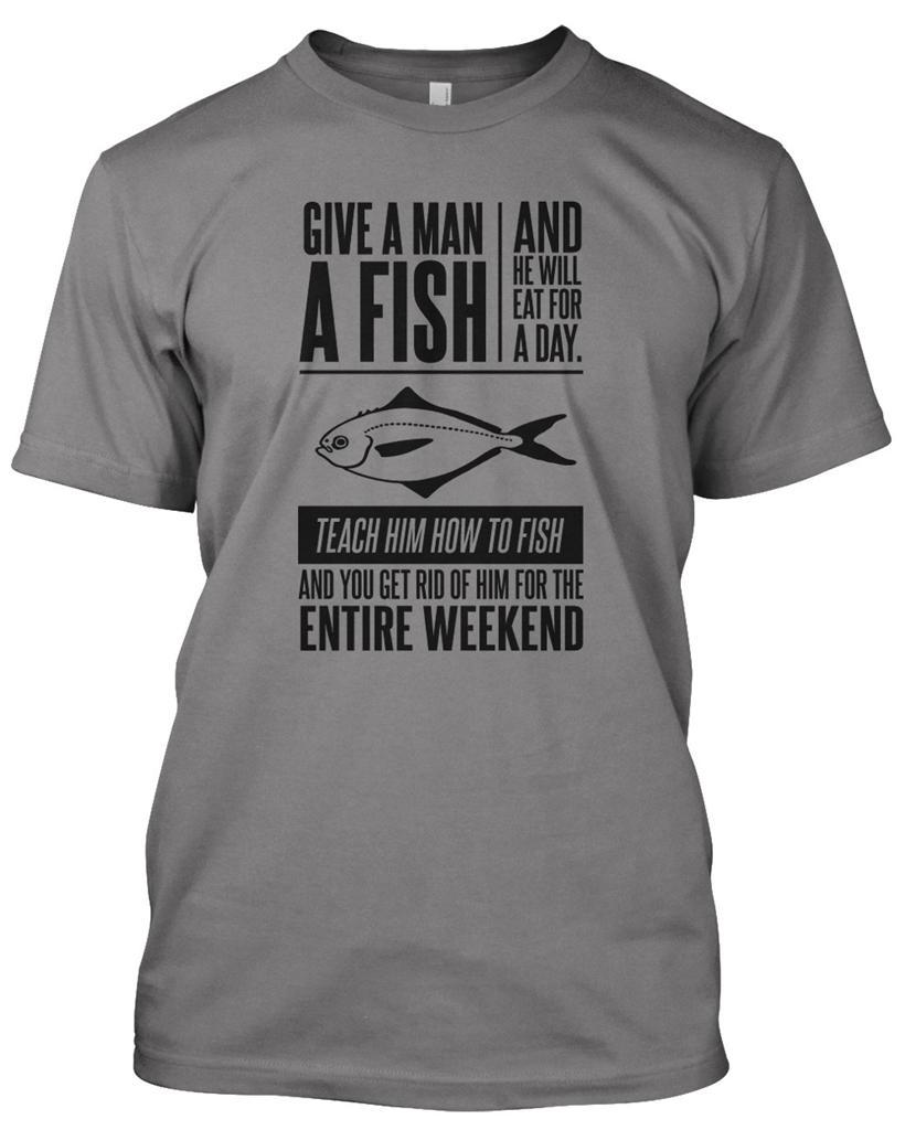 GIVE MAN A FISH\' Fisherman T-Shirt Mens Funny Christmas Gift Angler ...