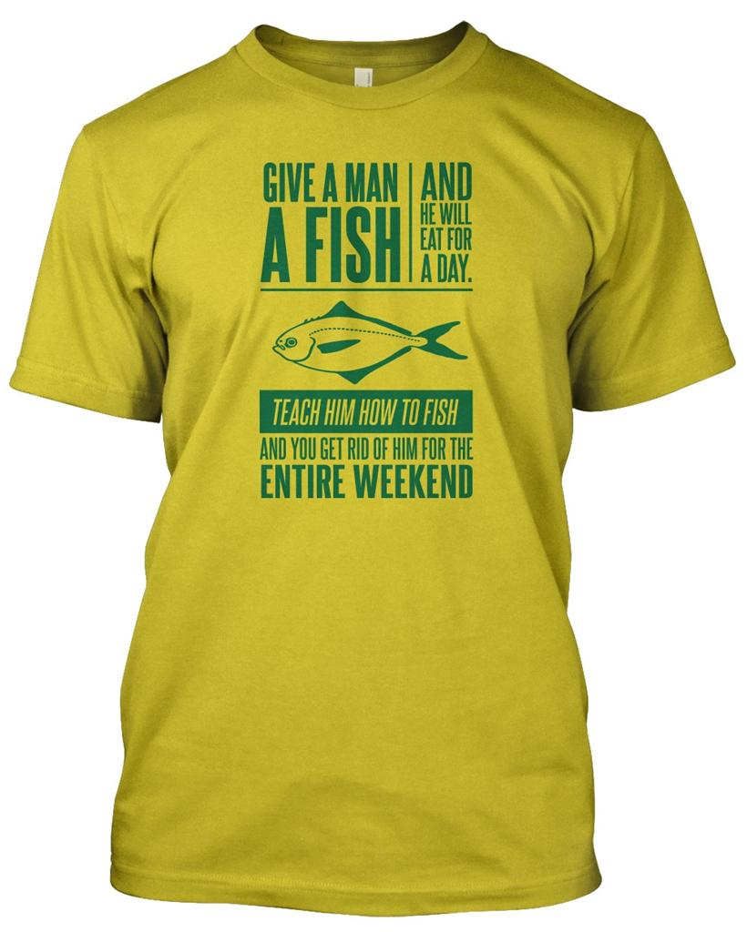 GIVE MAN A FISH\' Fisherman T-Shirt Mens Funny Christmas Gift Angler ...