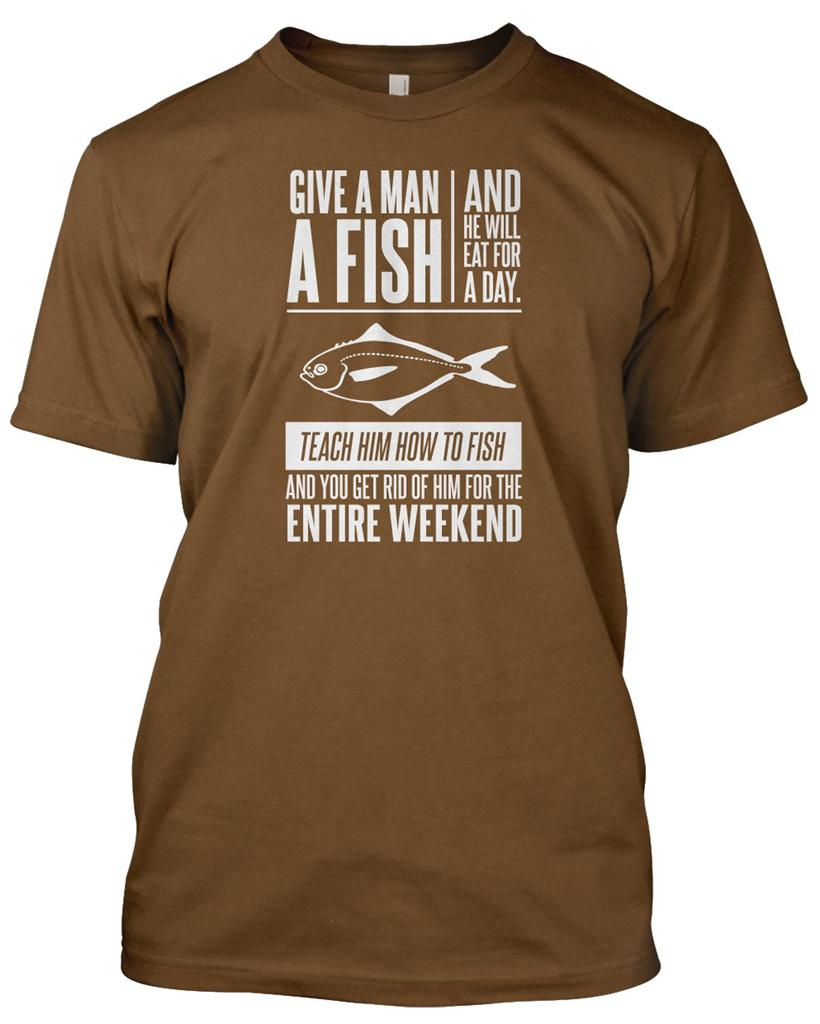 39 give man a fish 39 fisherman t shirt mens funny christmas for Funny fishing t shirts