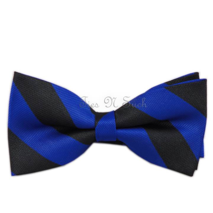 This royal blue and black striped bow tie features a pre-tied, band collar style that expands to fit neck sizes up to Made from all polyester microfiber, it is designed to match our bestselling men's royal blue and black woven striped tie.