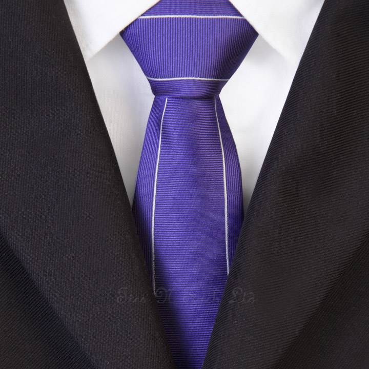 Purple with Silver Outline Vintage  Skinny Tie