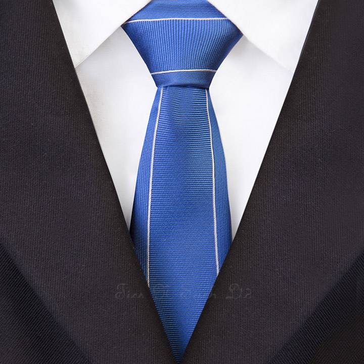 Blue with Silver Outline Vintage Striped Skinny Tie