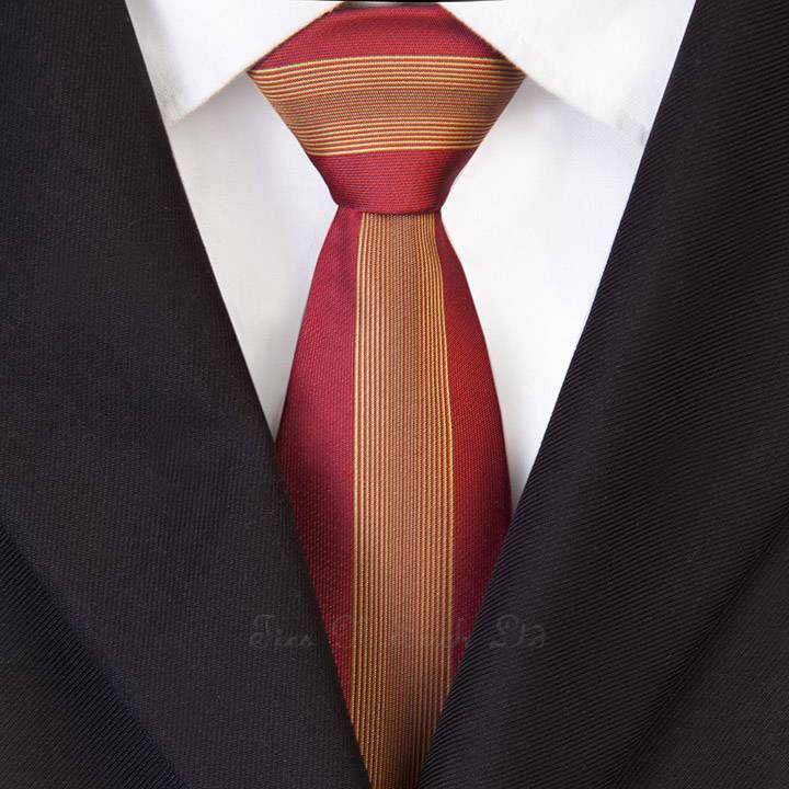 Red with Gold Yellow Vertical Striped Skinny Tie