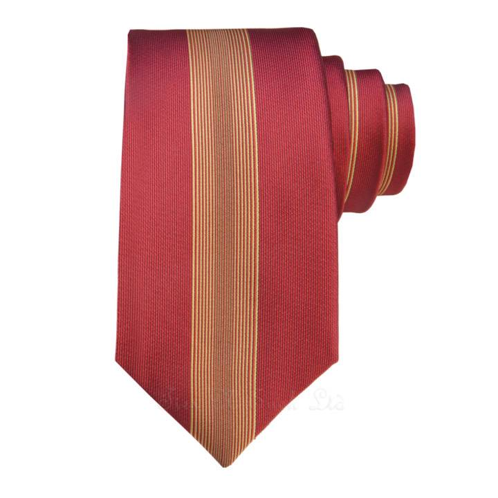 Red with Gold Yellow Vertical Skinny Ties