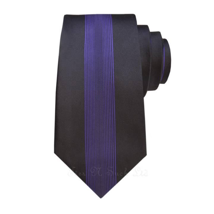 Black with Purple Vertical Vintage Skinny Ties