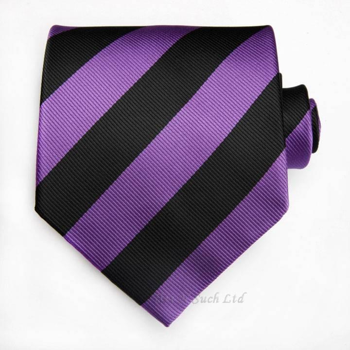 schwarz lila gestreifte krawatte set fu ball club schule ebay. Black Bedroom Furniture Sets. Home Design Ideas