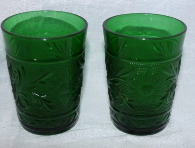4 Forest Green Anchor Hocking Sandwich Glass Tumblers