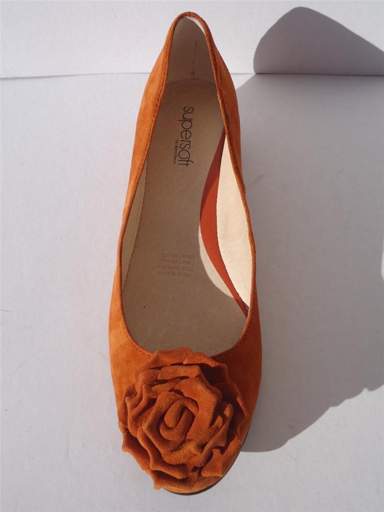New-Womens-Supersoft-Diana-Ferrari-Leather-Shoe-Ballet-Flat-Orange-Sz-8-8-5-9-10