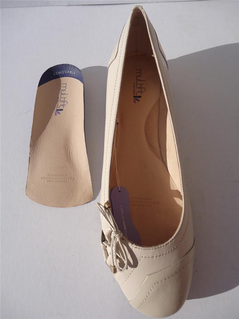 New-Womens-Leather-Diana-Ferrari-Multifit-Shoe-Flat-Bone-Sz-6-7-8-9-10-11-12-13