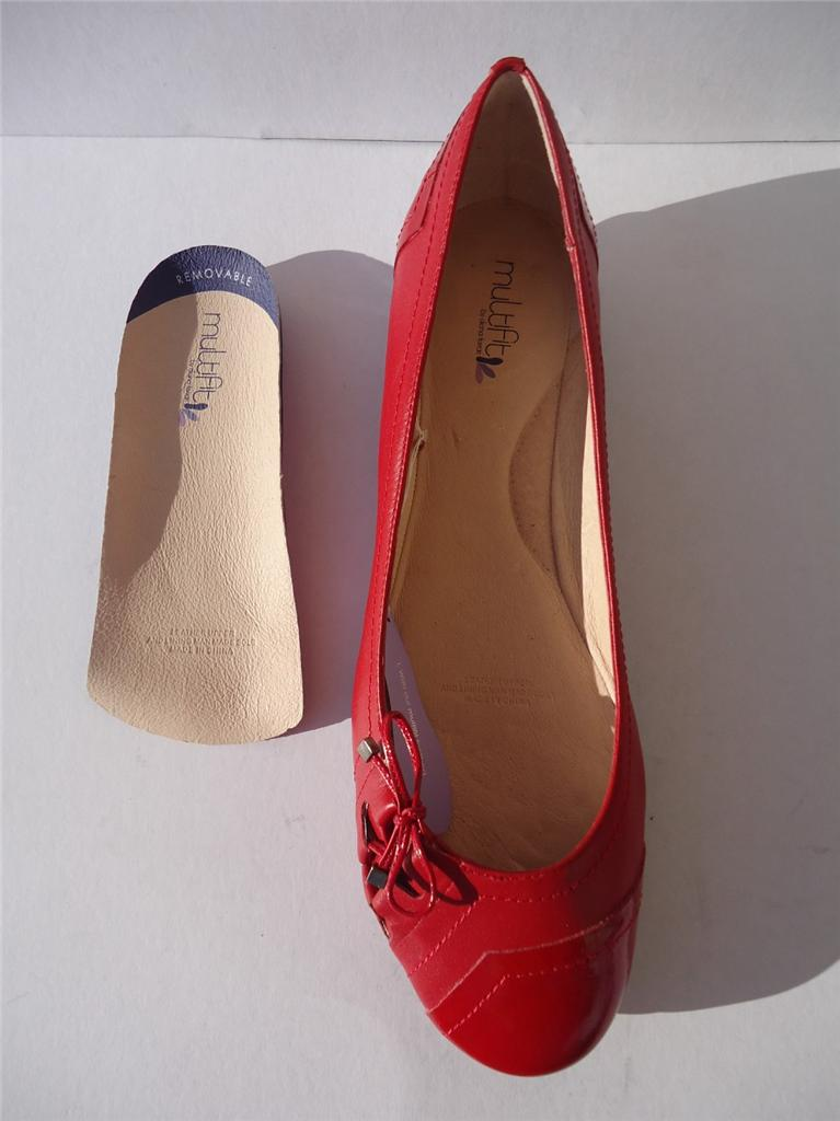 New-Womens-Leather-Diana-Ferrari-Multifit-Shoe-Flat-Red-Sz-6-7-8-9-10-11-12-13
