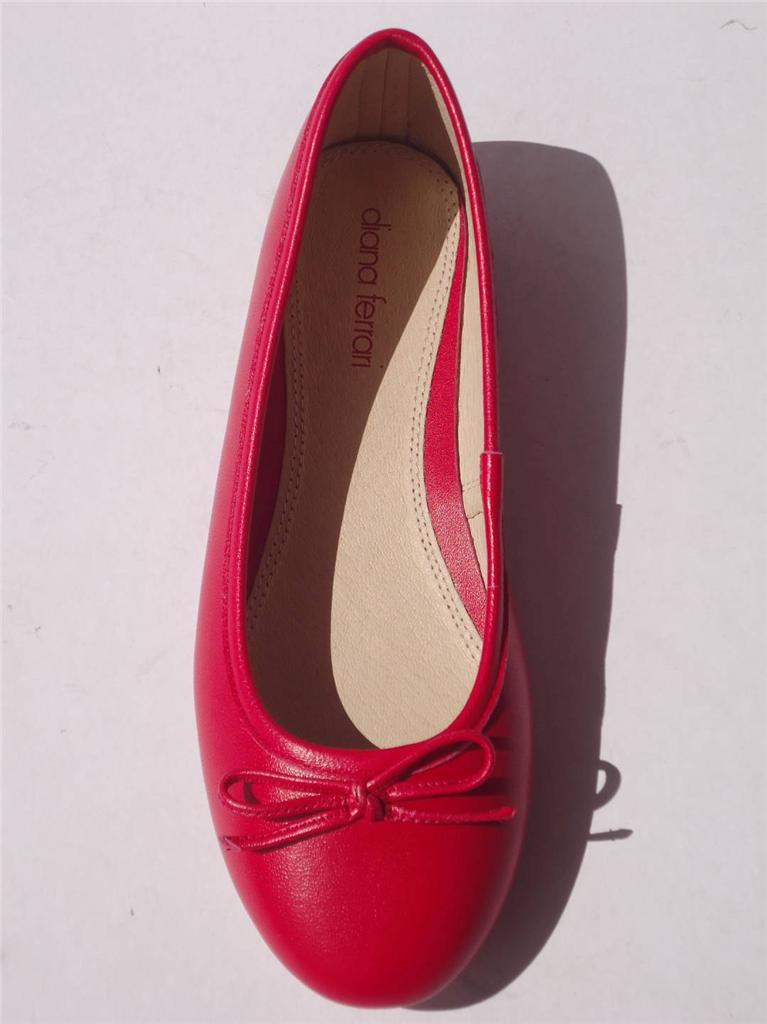 New-Womens-Diana-Ferrari-Leather-Shoe-Work-Ballet-Flat-Red-Size-6-7-8-9-10-11